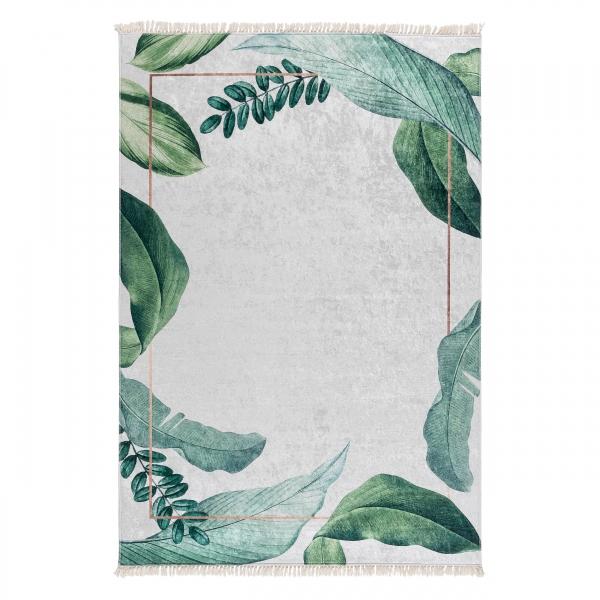 Antibakteriell Waschbarer Teppich Grün Weiss Blätter Design 5200