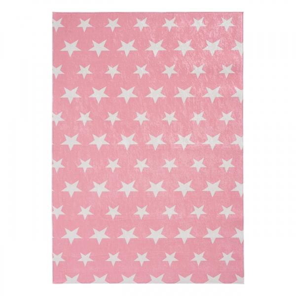 Antibakteriell Waschbarer Kinder Teppich Rosa Stern 4010