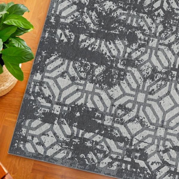 Carina 6930 Antibakteriell Waschbarer Vintage Teppich Schwarz Grau