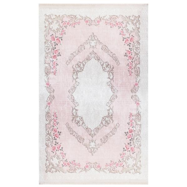 Antibakteriell Waschbarer Teppich Medaillon Rosa 2920