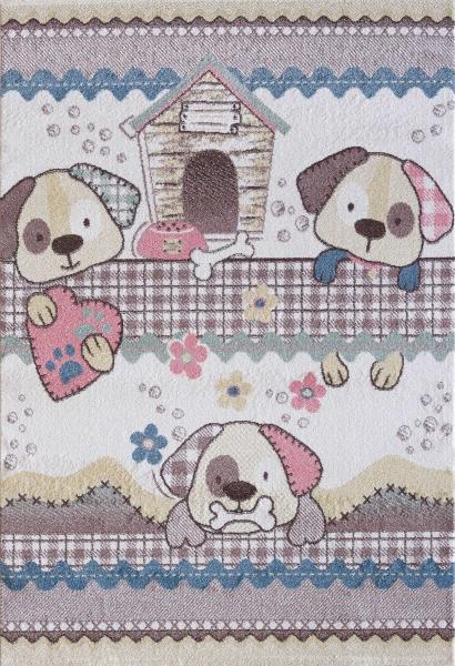 Kinderteppich Pastell Farben Hund 4603