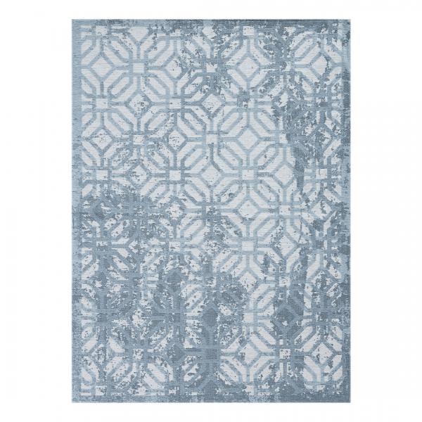 Carina 6931 Antibakteriell Waschbarer Vintage Teppich Blau