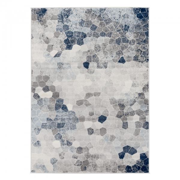 Moderner Kurzflor Teppich Dreieck Blau Montana 3712