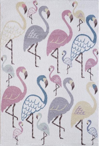 Kinderteppich Pastell Farben Flamingo 4612