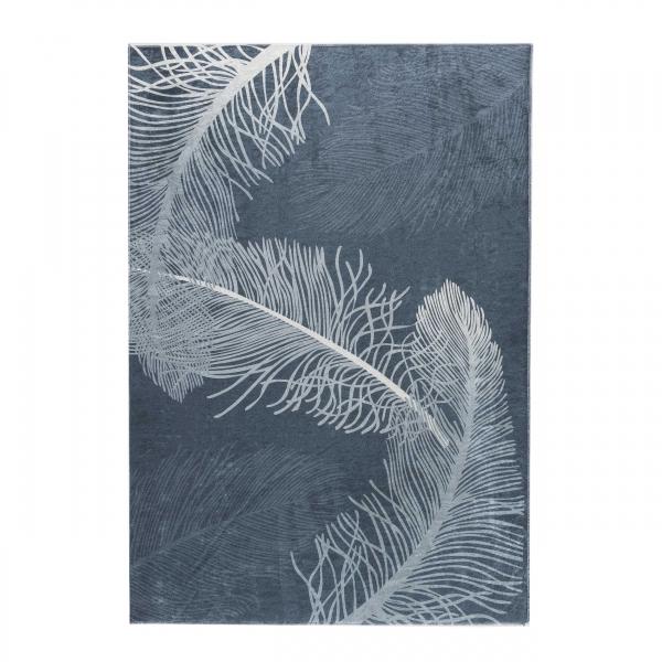 Antibakteriell Waschbarer Teppich Blätter Design Grau 2986