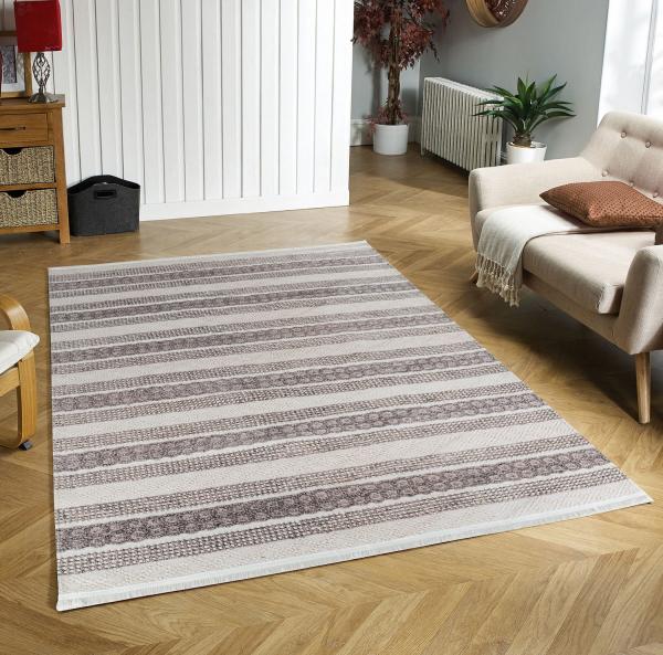Eflin 1030 beige braun Waschbarer Premium Teppich