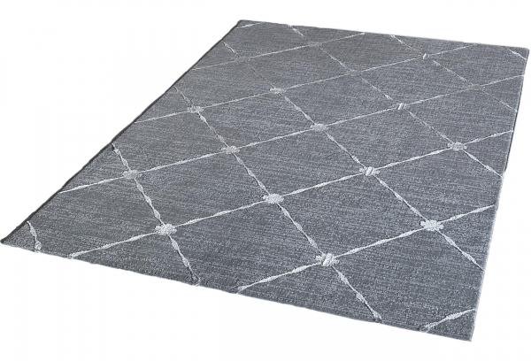 Lara 702 Kurzflor Teppich Karomuster Grau