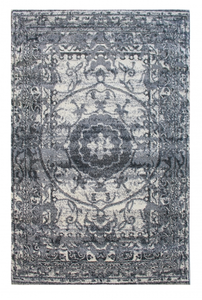 Teppich Kurzflor Tuana Vintage Style Medaillon 7611 grau