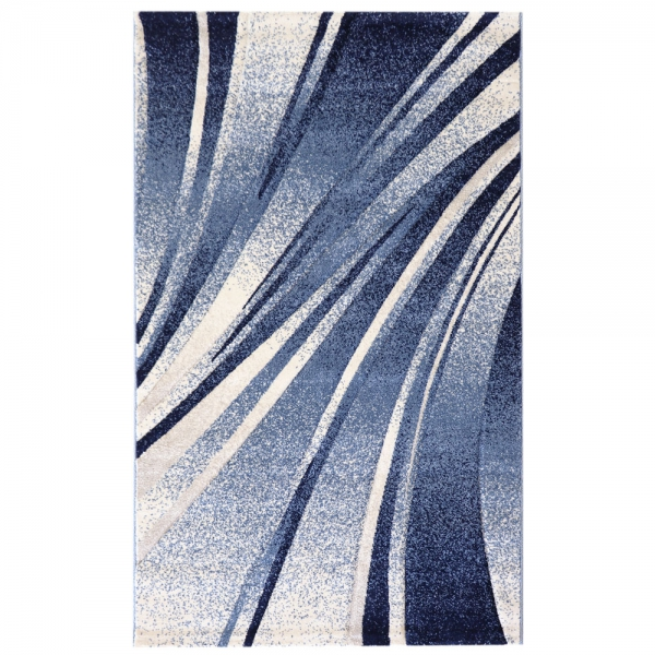 Kurzflor Teppich Gestreift Blau Trend 7510