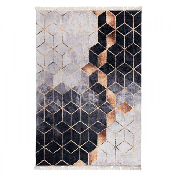 Antibakteriell Waschbarer Teppich Modern Grau Gold Design 5400