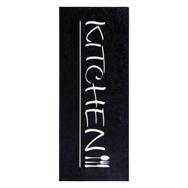 Antibakteriell Waschbarer Teppich Küchenläufer Kitchen Schwarz