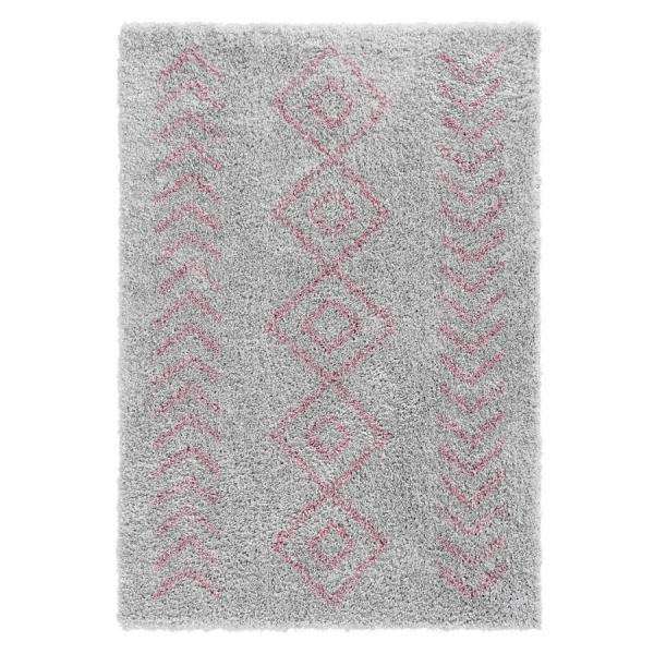 Ethno 8685 Rosa Grau Shaggy Teppich