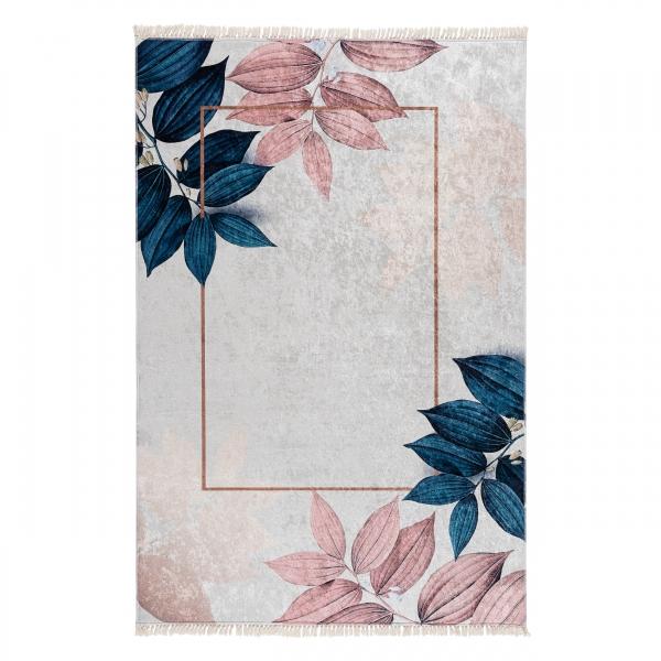 Waschbarer Teppich Floral Rosa Gold Caimas 5700