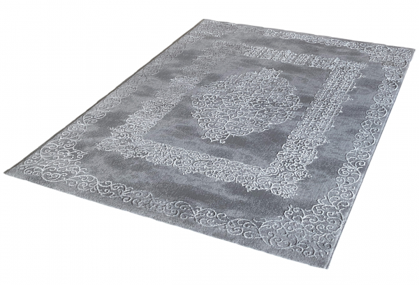 Lara 704 Designer Teppich Glanz Effekt Grau