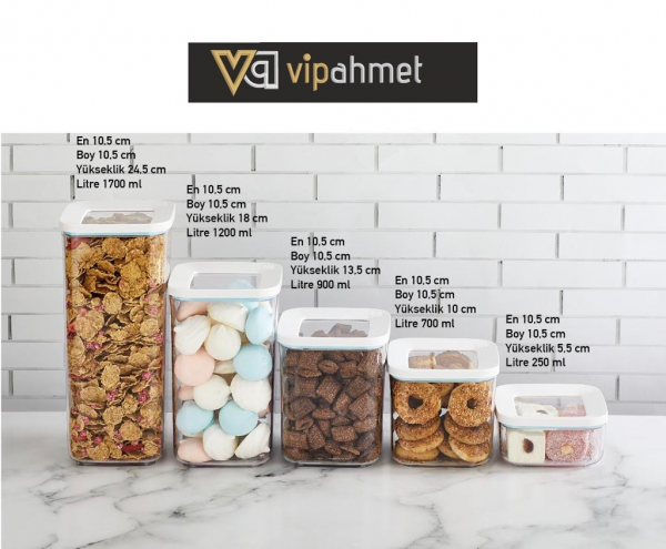 VP-188 VIP AHMET VAKUUM-VORRATSBEHÄLTER 5ER-SET TRANSPARENT