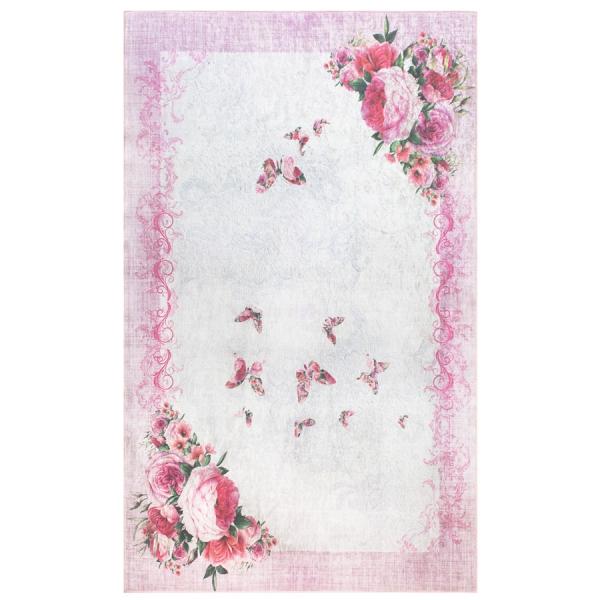 Antibakteriell Waschbarer Teppich Schmetterling Rosa 2870