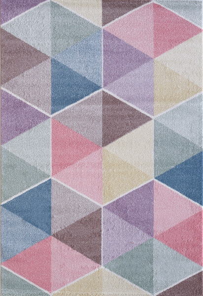 Kinderteppich Pastell Farben Dreieck 4607