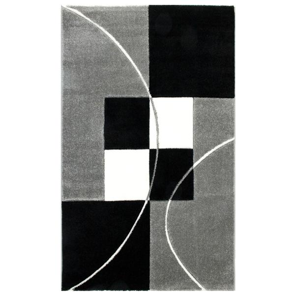 Kalın Modern Siyah Beyaz Halı Oyma Desenli 8001