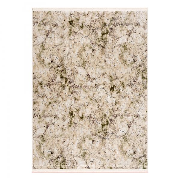 2121 Emerald Antibakteriell Waschbarer Teppich Creme Grün