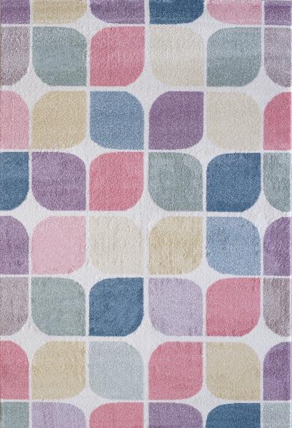 Kinderteppich Pastell Farben Retro 4608