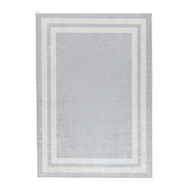 Antibakteriell Waschbarer Teppich Grau Weiss Bordüre Design 2972