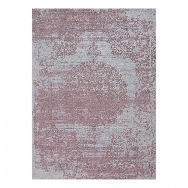 Carina 6941 Antibakteriell Waschbarer Vintage Teppich Rosa Medaillon