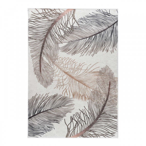 Antibakteriell Waschbarer Teppich Blätter Design Beige 2985