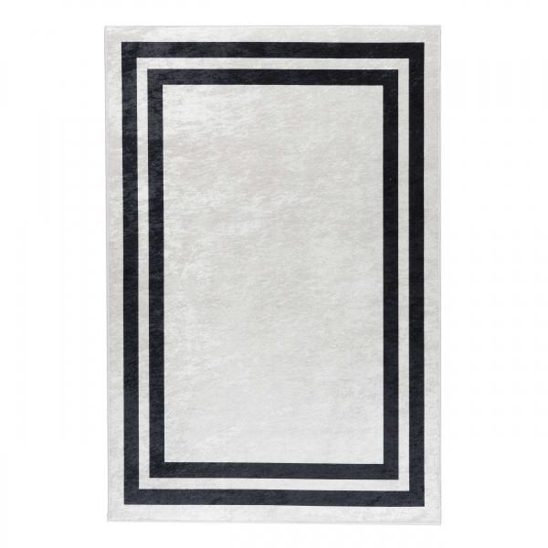 Antibakteriell Waschbarer Teppich Schwarz Weiss Bordüre Design 2970