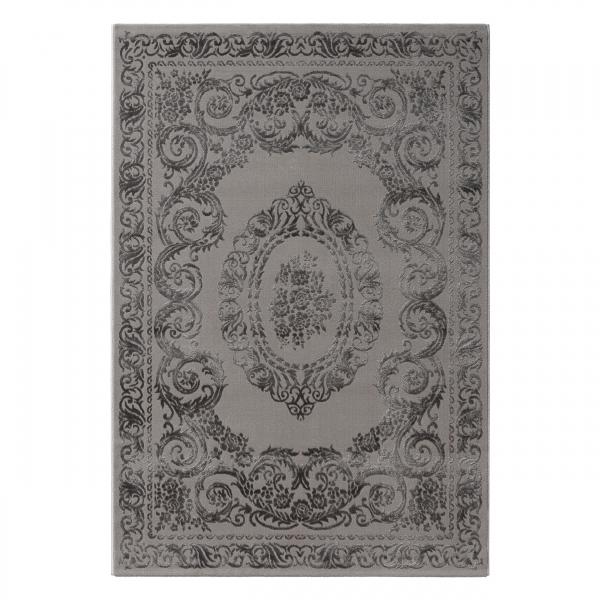 Amatis 6650 Grau Moderner Teppich Kurzflor Teppich mit Medaillon