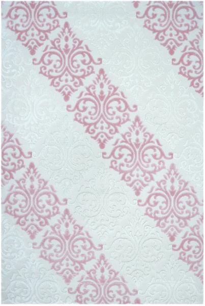 Akrilik Cökme Beyaz Pembe Renkli Halı 1845