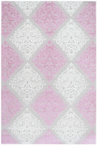 Acryl Teppich Rosa Creme Karomuster 1920