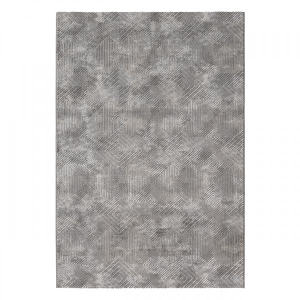 Amatis 6620 Grau Kurzflor Teppich Rauten Muster