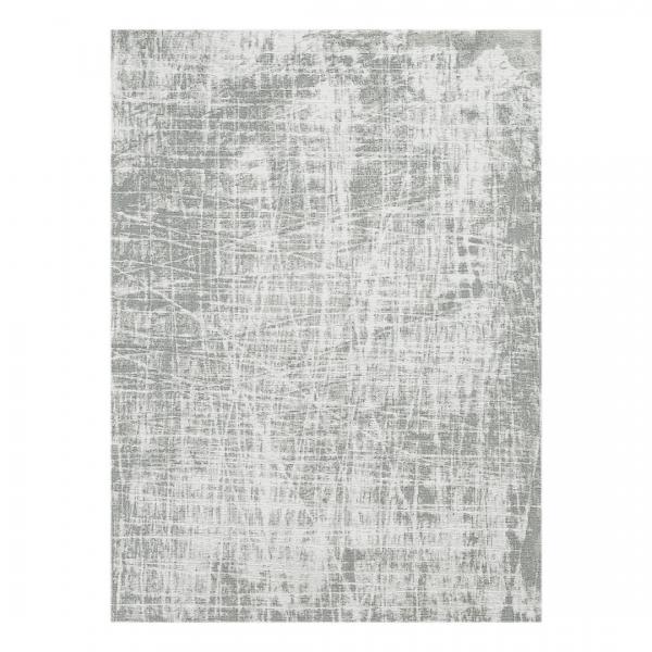 Carina 6921 Antibakteriell Waschbarer Vintage Teppich Grau Unifarben