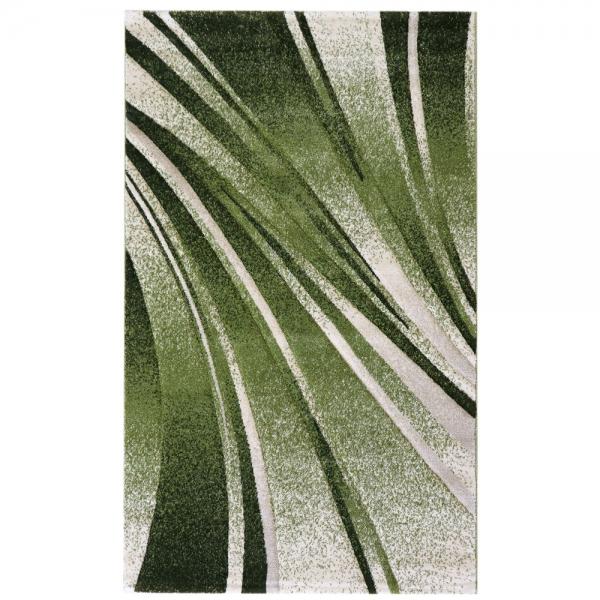 Geometrik Oymalı Tasarım Yeşil Salon Halısı 7510