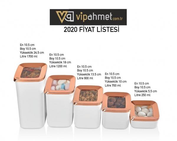 VP-117 VİP AHMET 5 LI SAKLAMA KABI BEYAZ/ BAKIR