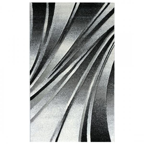 Geometrik Oymalı Tasarım Siyah Salon Halısı 7510