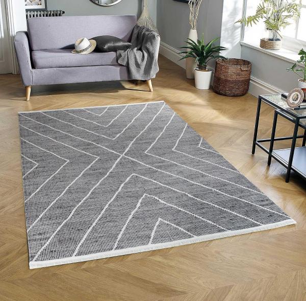 Eflin 1020 anthrazit Waschbarer Premium Teppich