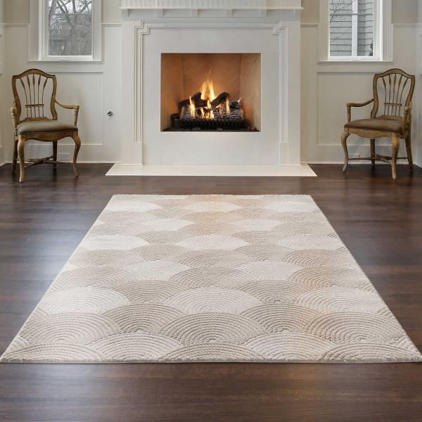 Luxury 6000 Beige Hochwertiger Teppich Gemustert