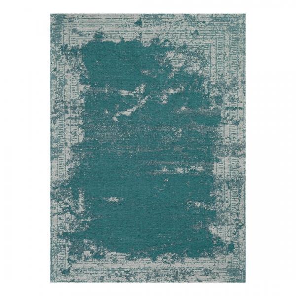 Carina 6911 Antibakteriell Waschbarer Vintage Teppich Türkis