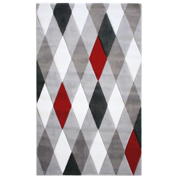 Rot Karo Design Moderner Teppich Lena 307