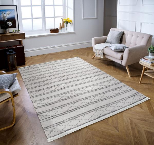 Eflin 1050 creme grau Waschbarer Premium Teppich
