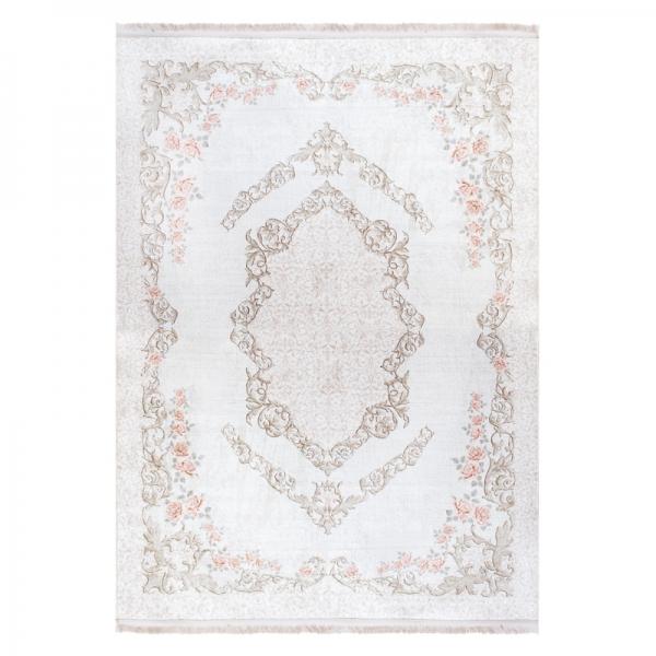 Antibakteriell Waschbarer Teppich Medaillon Creme Weiss 2921